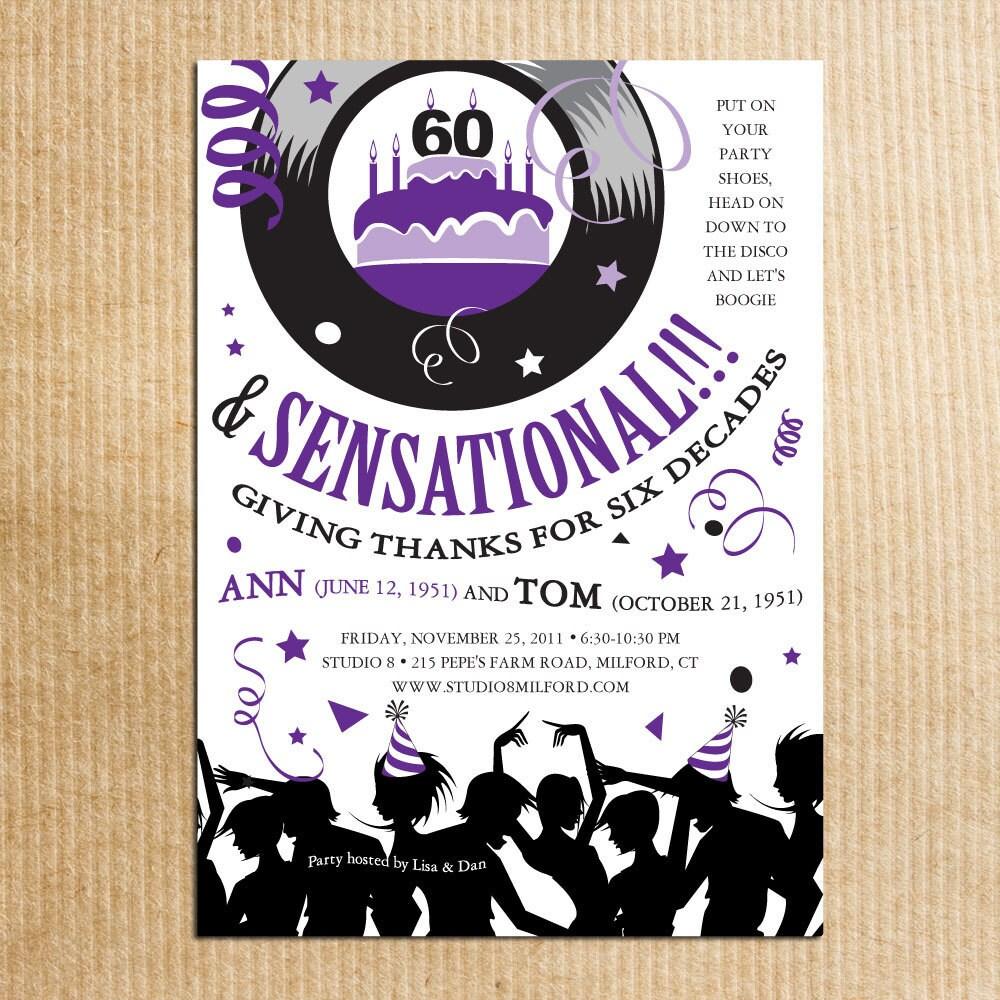 Beautiful 70s Party Invitations Motif Invitation Card