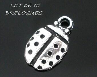 set of 10 charms minimalist Ladybug lucky Silver (E15)