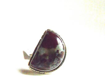 All Natural • solid sterling SILVER • Blood Stone • Size 6 1/2 • B7072