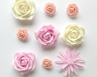 Fake flowers artificial flowers silk foam flowers for cardmaking lightweight flat back flowers set of 9 roses