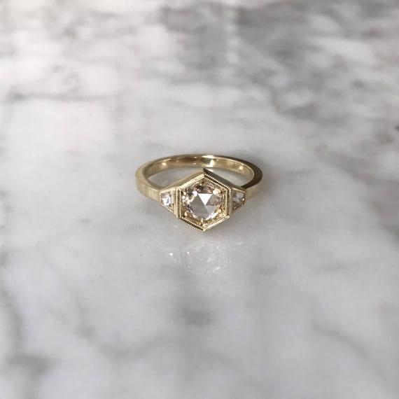 Three Stone Hexagon Engagement Ring
