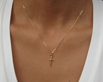 Gold cross necklace Etsy