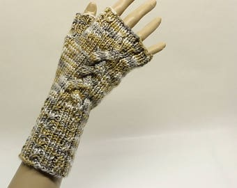 Cabled Fingerless Gloves in Gold, Grey and Ivory Multi FG006
