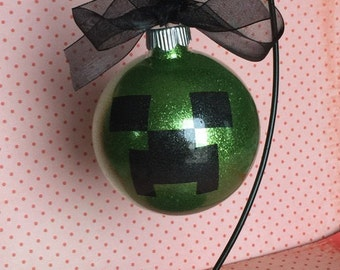 Personalized Minecraft Creeper Glitter Christmas Ornament ~ Custom Ornament With Name and Year