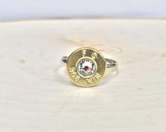 308 Win Ring / Bullet Ring / Bullet Jewelry / 308 Bullet Ring / Swarovski Crystal Bullet Ring / Silver Plated Ring
