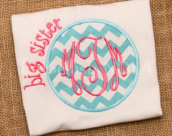 Big Sister, Little Sister Circle Applique Shirt or Bodysuit or Gown