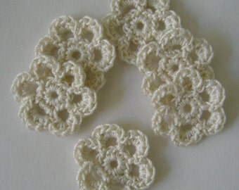 Mini Six Crocheted Flowers - Antique White - Cotton Flowers - Crocheted Flower Embellishments - Crocheted Flower Appliques - Set of 6