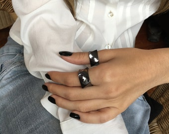 Black Gold Ring, Black Ring, Simple Ring, Black Band Ring