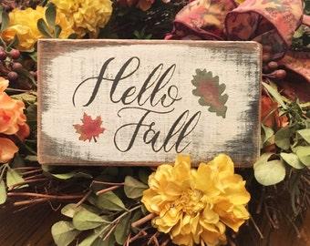 Hello Fall  - handmade seasonal rustic box sign with painted Fall leaves