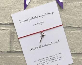 "Magic wand wish bracelet - """"It all starts with a wish"" string charm bracelet with fairy wand charm - Movie inspired quote card"