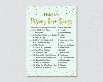 Mint and Gold Love Songs Match Game - Printable Mint Bridal Shower Disney Love Song Game - Mint and Gold Foil Bridal Shower Game 0010-M