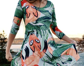 Kitsune Dragon Print Dress