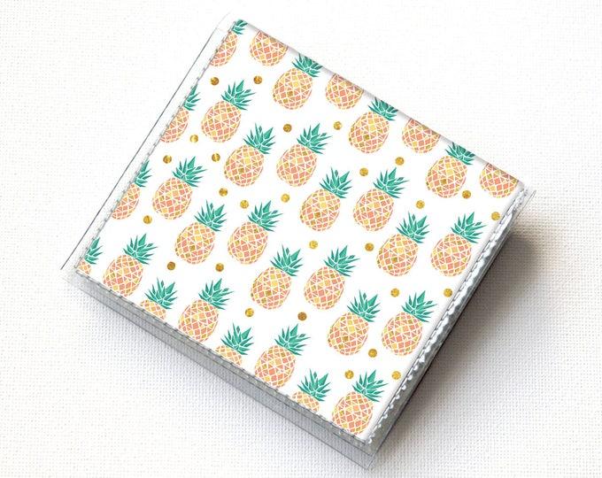 Vinyl Moo Square Card Holder - Tropical Summer2 / case, vinyl, snap, wallet, mini card case, moo case, square, pineapple, small, vegan