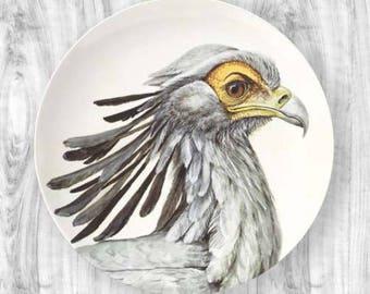 Secretary bird portrait plate