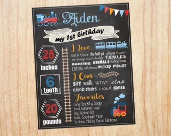 Train First Birthday sign. Train 1st Birthday sign. Choo Choo train 1st birthday milestones poster. train birthday decorations. stats sign