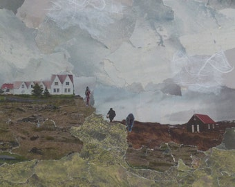 Outside Reykjavik - original collage (mounted)
