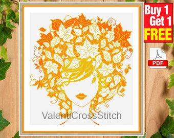MODERN Cross Stitch Pattern, Lady Autumn , Cross Stitch Chart, Pattern, Patterns, Autumn. , pdf, #sp 184