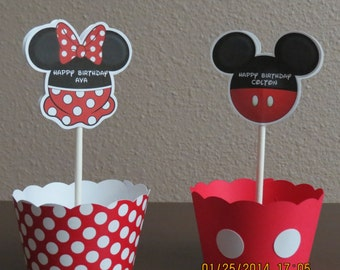 Mickey & Minnie Mouse Cupcake Toppers and Wrappers (Set of 12)