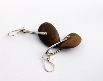 Pinned Pebble Earrings