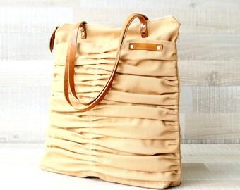 Canvas Tote Bag, Zip Tote, Genuine Leather Straps, Handbag, Summer, Laptop Tote, Shoulder Bag, Mustard, Diaper Bag, EXPRESS SHIPPING, purse