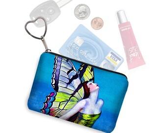 Credit Card Holder Coin Purse Keychain Zipper Pouch Business Card Case Art Deco Flapper Butterfly Fairy Goddess blue green purple RTS