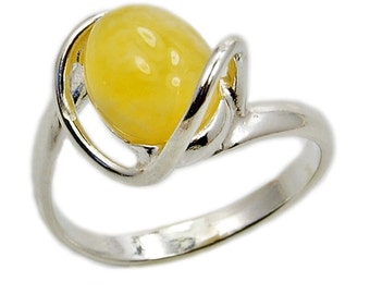 Sterling Silver Butterscotch Baltic Amber Ring Honey Amber Ring AE345 Jewelry The Silver Plaza