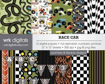 Race Car Seamless Digital Paper Pack and Alphabet, Digital Scrapbooking, Instant Download