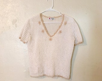 Vintage Hand Crocheted Shirt Size L