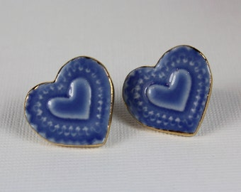 Heart Earrings Blue Handmade Porcelain Ceramic Jewelry