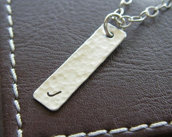 """Personalized Silver Bar Necklace - Hand Stamped Sterling Silver Jewelry - 1"""" Custom Textured Bar with Initial - Optional Birthstone or Pearl"""