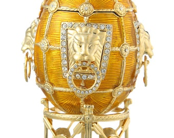 Russian Faberge Style Egg / Trinket Jewel Box with Lions 11cm (4.3'') yellow