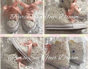 SWAROVSKI CRYSTAL and PEARL Converse Chuck Taylor Lux Wedge Wedding Converse - Wedding Chucks - Pearl Wedding Shoes - Pearl Wedge Converse