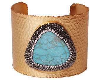 14k Matte Gold Plated Cuff Bangle Bracelet with Natural Turquoise Stone