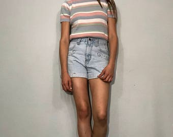 1990s pastel striped sweater top