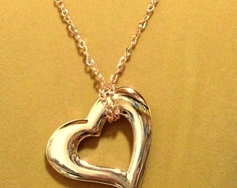 SALE  Rose Gold Large Heart Chain Necklace / Heart Necklace / Chain Necklace / Rose Gold Necklace / Open Heart Necklace