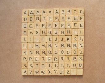 100 scrabble tiles, vintage bulk letters, letters from Dutch Scrabble game