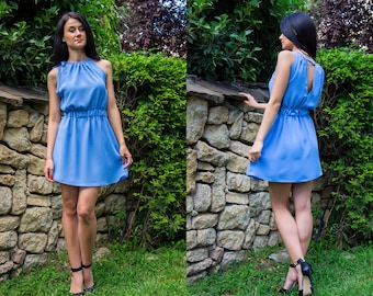 Womens Dresses / Summer Dress / Blue Dress / Short Dress/ Chiffon Dress / Comfortable Dress / Daily Dress