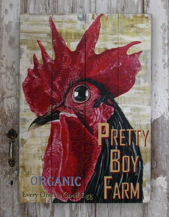 Rooster original acrylic painting Farm Illustration Pretty Boy Farm. on solid wood plank panels