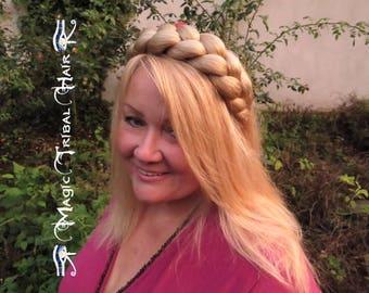 BRAID HEADBAND custom color HAIRBAND hair piece Medieval Renfaire plait crown Larp tiara Renaissance wedding headpiece Bride hair extensions
