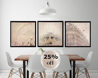 """Paris photography set, Paris art print set, large photography, """"Paris Dream"""""""