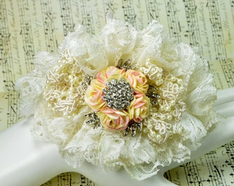 Brooch Wrist Corsage - Ivory Lace, Beads, Flowers, and Crystals !!!