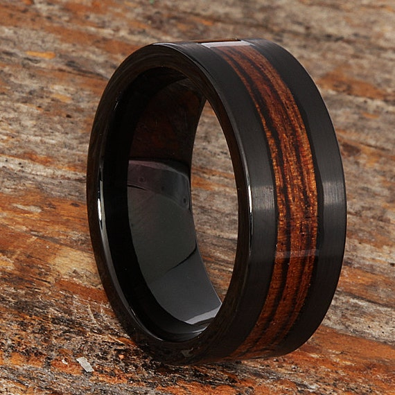 9mm Black Tungsten Wedding Band with Genuine Redwood Inlay