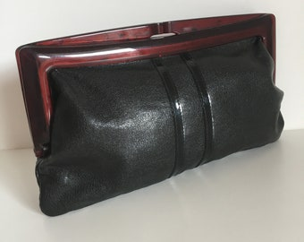 Vintage Hand bag genuine leather made in Italy 80s hand bag real leather clutches 80s