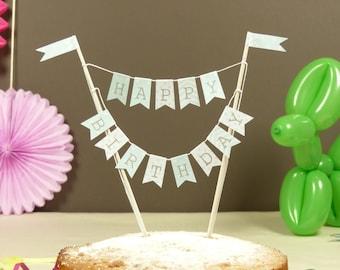 Birthday cake bunting Mint green stars, stripes & polka dot  Cake topper