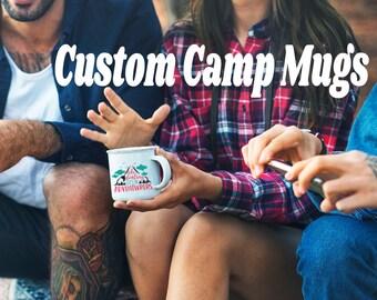 Tasse d'émail personnalisée ferme---Camping feu de camp de tasse Mug aventure tasse tasse d'émail
