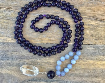 108 Mala Beads Necklace/ Amethyst and Chalcedony Meditation Mala Beads/ Amethyst Japa mala / Long Beaded Necklace / Yoga Jewelry / Buddhist