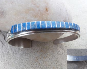 Jackie Singer (J.S.) Denim Lapis Sterling Silver Channel Inlay with Deep Hand-stamped Native American Navajo Patterns along the side Cuff