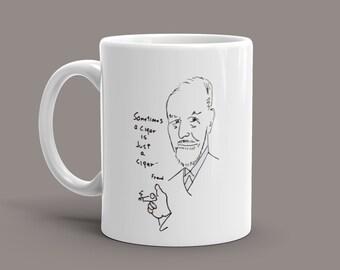 "Freud Coffee Mug with Profound Saying ""Sometimes a cigar is just a cigar."""