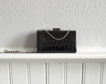 90s Mini Faux Croc Skin Box Bag