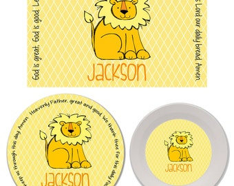 Personalized Kids Melamine Plate, Bowl and Placemat Set - Melamine Dinnerware Set - Mealtime Set - Kids Plate and Bowl Set - Lion